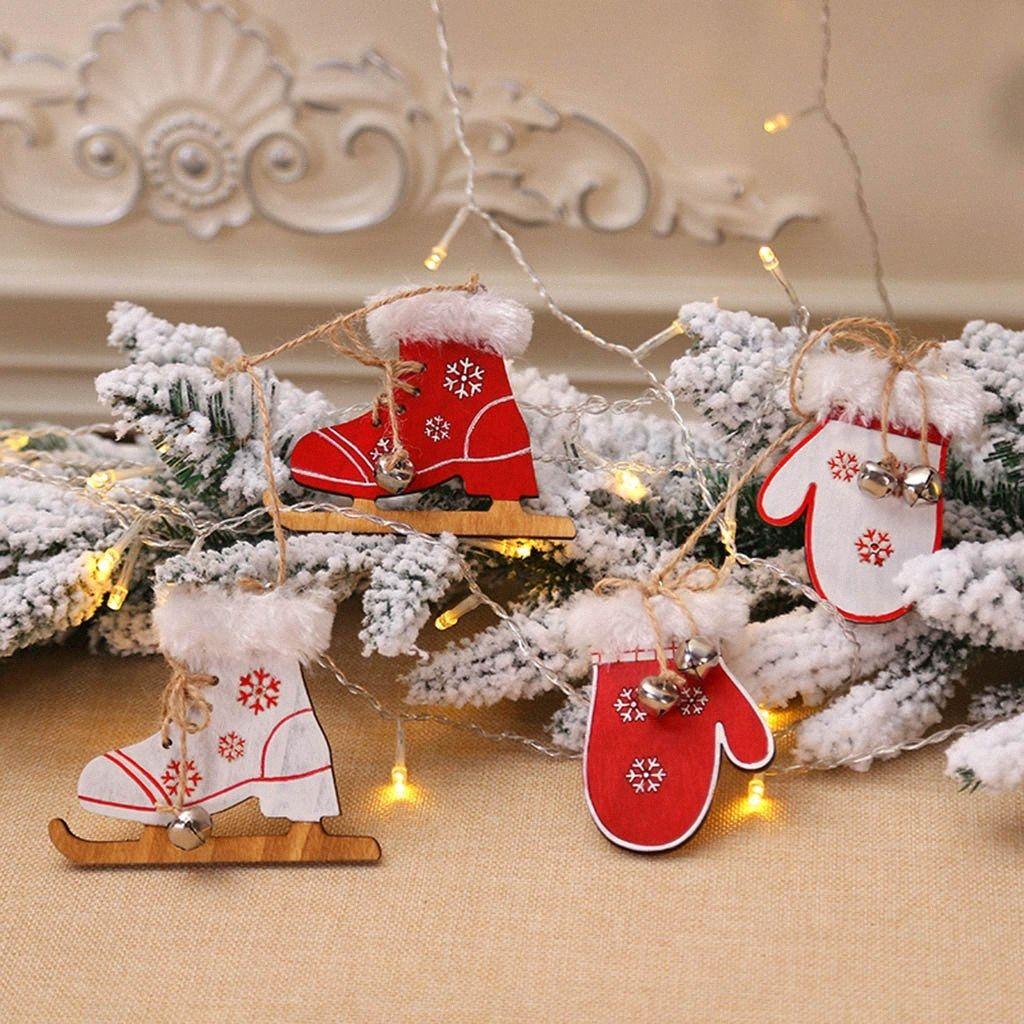 Natale Ski Stivali Guanti di legno Figura Pendente di Natale Guanto Scarponi da sci in legno Pendenti Xmas Tree ornamenti casa Hanging c6f6 #