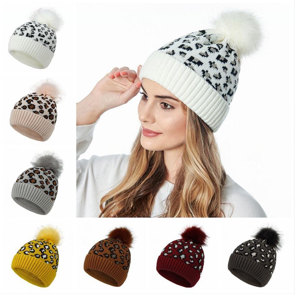 Leopard Gorro Pom Pom da bola da pele Gorros Mulheres Inverno Quente Lã Knitting Hat exterior Keep Warm Beanie Caps Party Hats LJJP410