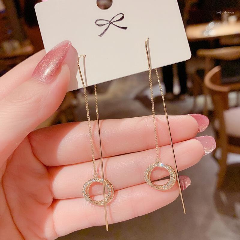 Stud 2021 Fashion Super Fairy Tassel Ear Line Female Thin Temperament Circle Earring Simple Jewelry1