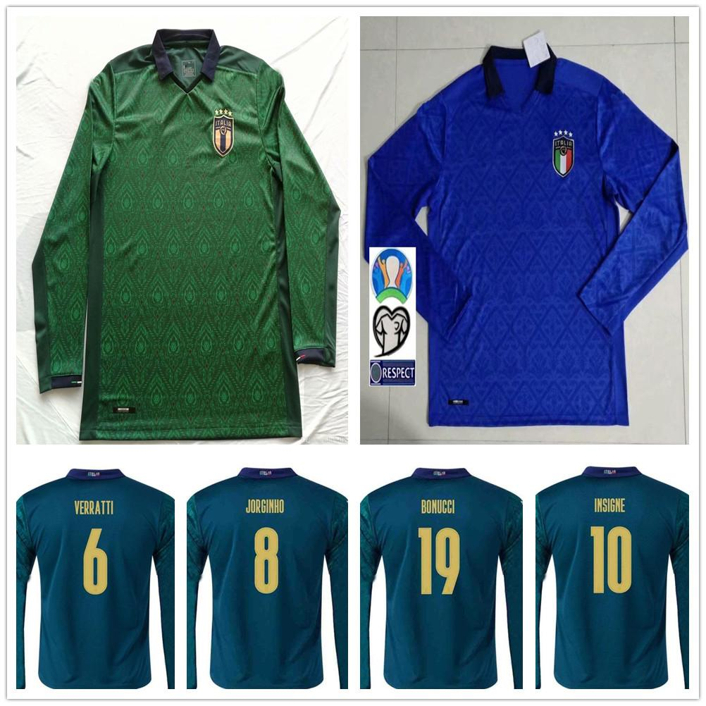 2020 2021 Italy Long Sleeve Soccer Jerseys BELOTTI VERRATTI JORGINHO INSIGNE BERNARDESCHI 20 21 Custom Italia Home Away Adult Football Shirt
