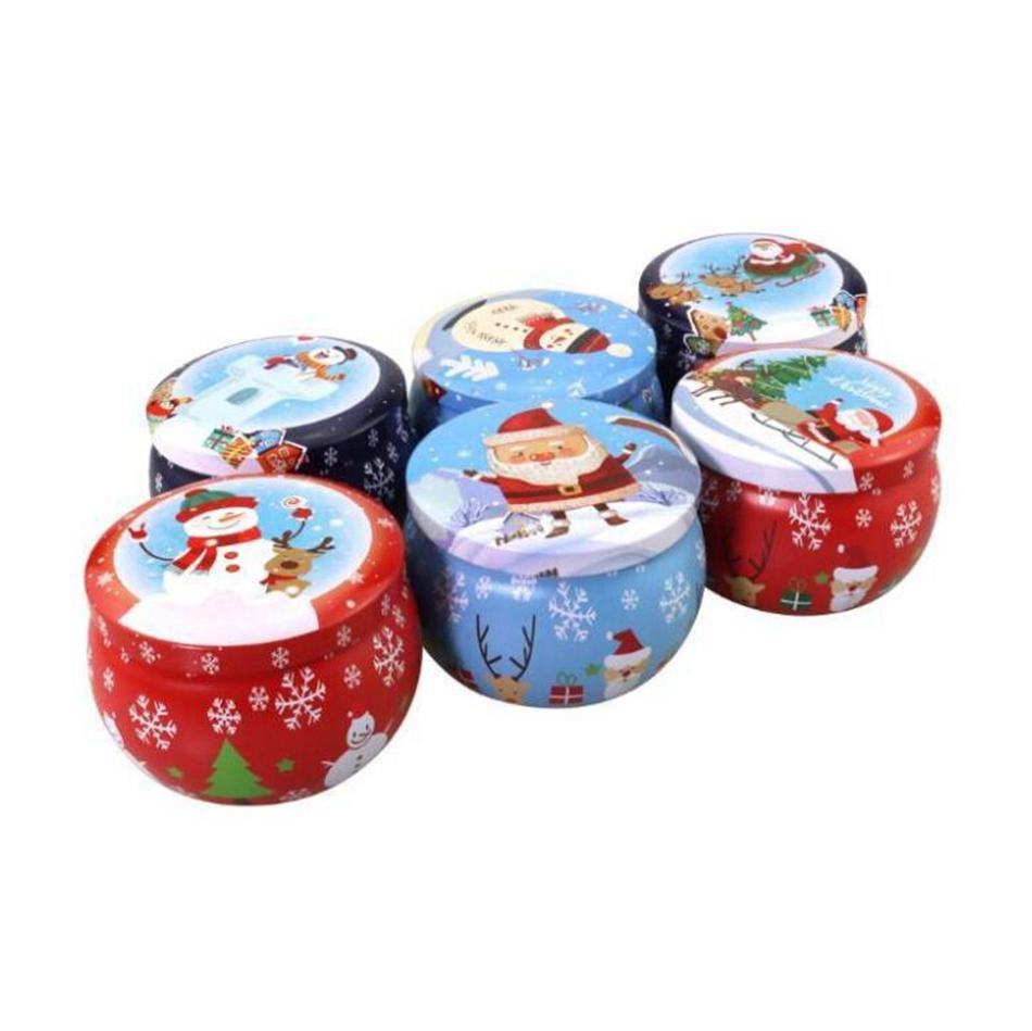 Natal flandres Box Xmas Santa bonito do boneco de neve Imprimir Candy Chá Vela caixas de armazenamento Aromatherapy Candle Jar Xmas presente Decoração LJJP673
