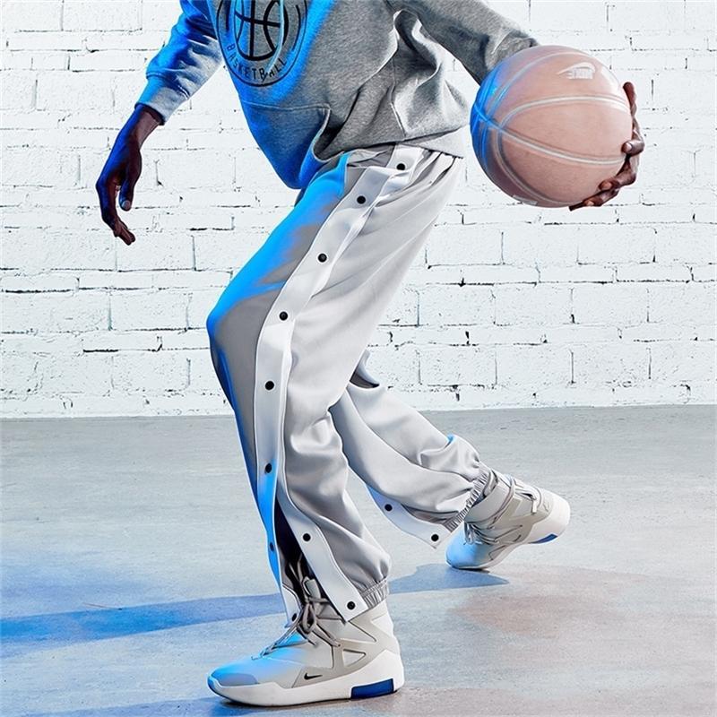 Baloncesto Deportes Hombres Grises Haz Piernas Jogger Completa Hebilla Abierta Moda Botón Pantalones Pantalones Solos Pantalones Y201123