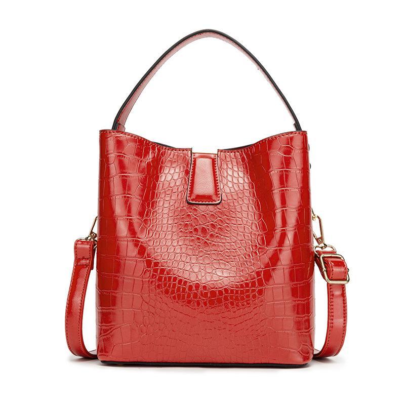 HBP Women bag new slanted bucket shoulder bag top grade alligator pattern PU portable