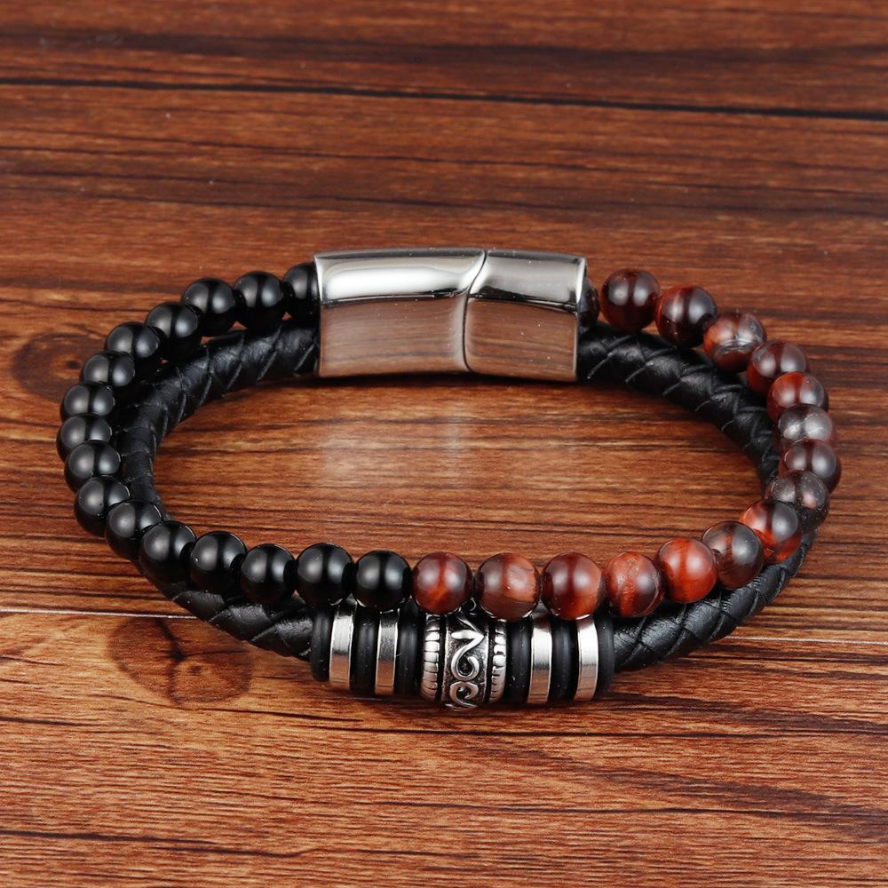 Naturstein Tiger Augen Stein echte Leder Armband Perlen zweireihige Herren-Edelstahl Magnetknopf Spind Armband