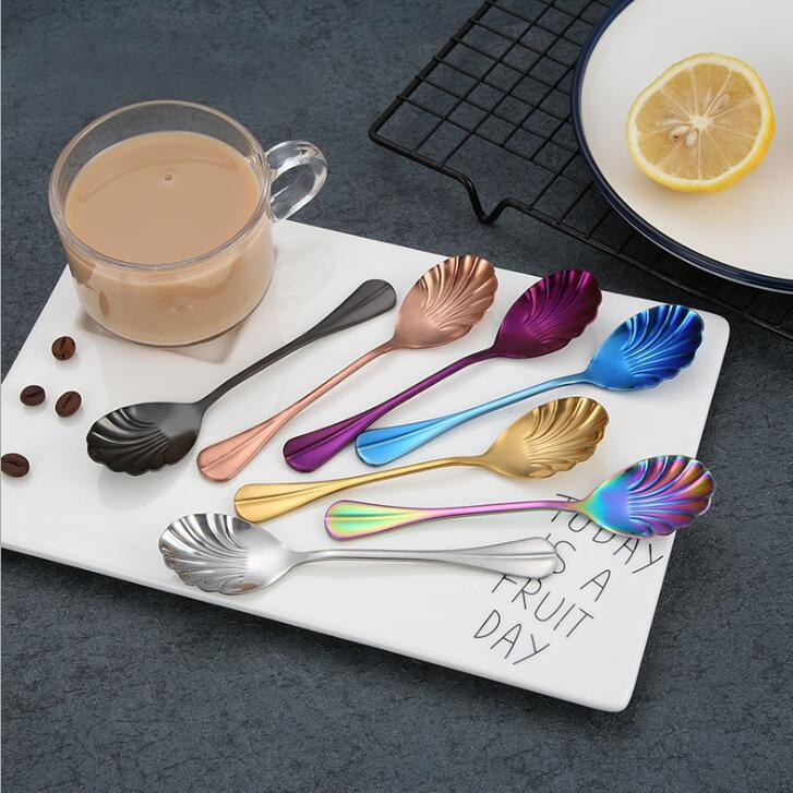 Shell-Shaped Coffee Spoon Stainless Steel Strring Scoop Teaspoon Dessert Spoons Tableware Party Decoration Cutlery Bar Tool OWE2034