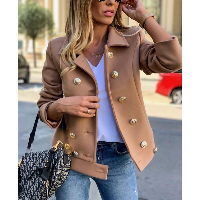 Femmes Automne Hiver CROISÉ Boutons solides manches longues Manteau en laine Veste Avslappnad Slim Fit Outwear européenne SJ4783M