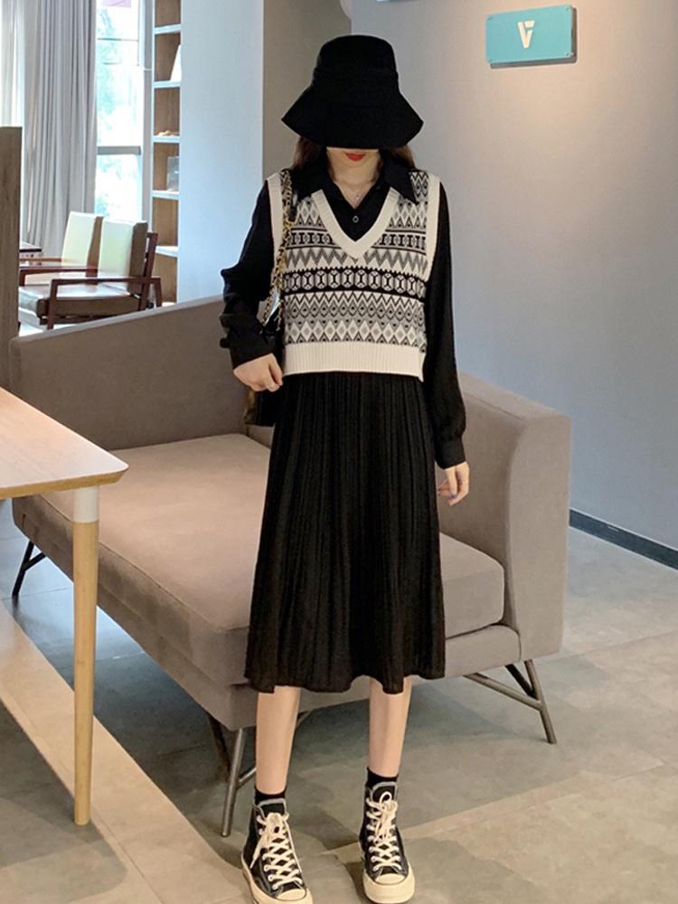 Осень шифоновое Женская осень одежда 2020 Новый Темперамент платье средней длины талии для похудения плиссе маленькое черное платье
