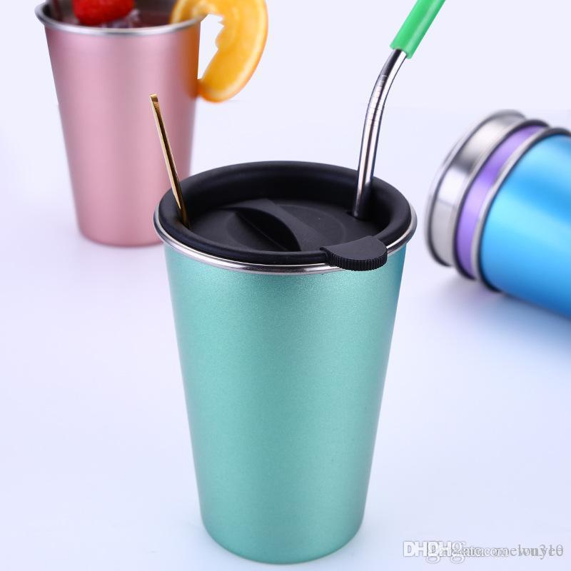 Из нержавеющей стали 500мл соломы Большой Кубок Кружка с крышкой Кружка кофе 5 цветов Пиво Чай Сок Молочный напиток Tumbler Открытый Отдых Путешествия DH1261-1 T03