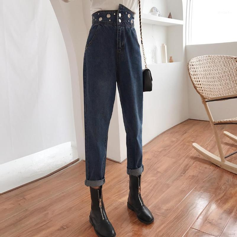 High Waist Fashion Cotton Harem Jeans Female 2020 Autumn Casual Beading Vintage Denim Pants For Slim Women1