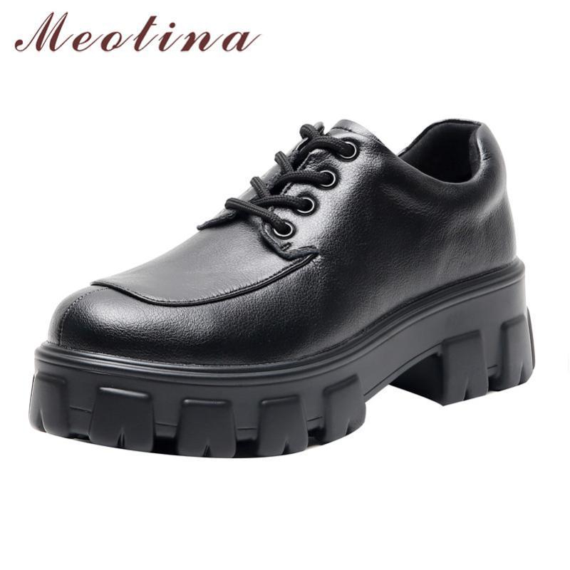 Dress Shoes Meotina Donne Pompe con tacchi alti Tacchi alti Piattaforma in vera pelle naturale Chunky Casual Toe Autunno femminile 39