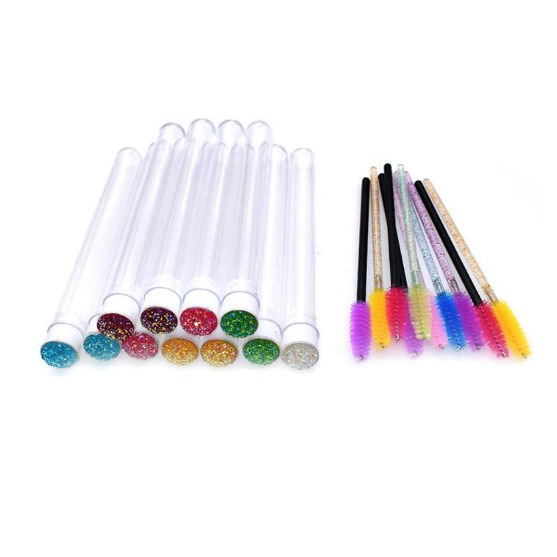 10 PCS Jetables Rose Mascara Pinceaux Diamant Eyelash Tabors Maquillage Brosse Baguette de mascara à Tube Sanitaire Fournitures