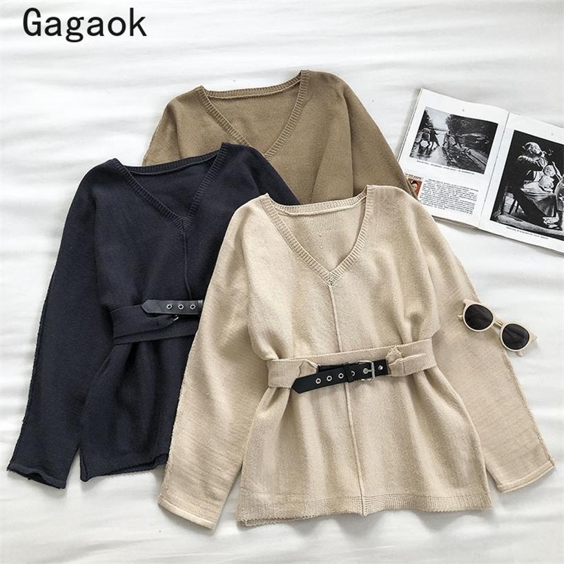 Gagaok Ofis Lady Moda Örgü Kazak Kadın Bahar Sonbahar Yeni V Yaka Sashes Full Chic Wild Basit Kore Kazaklar K3961 201221