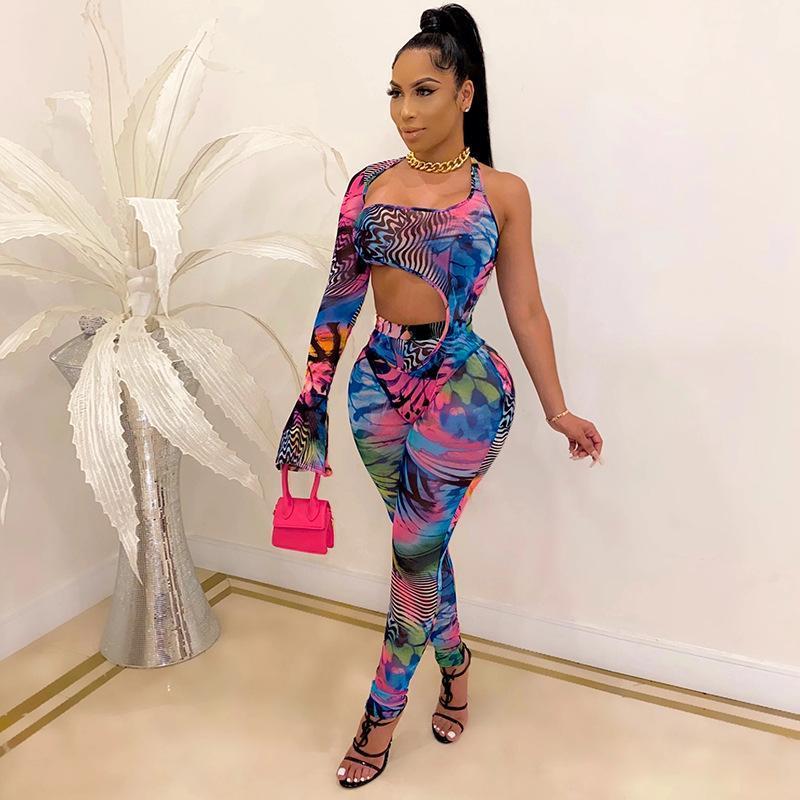 Kadın Eşofman 2021 İlkbahar Yaz Kadın Kıyafetler Bir Omuz Uzun Kollu Bodycon Tulum Üst + Pantolon Set 2 adet Ince Çiçek Baskı Giysileri S