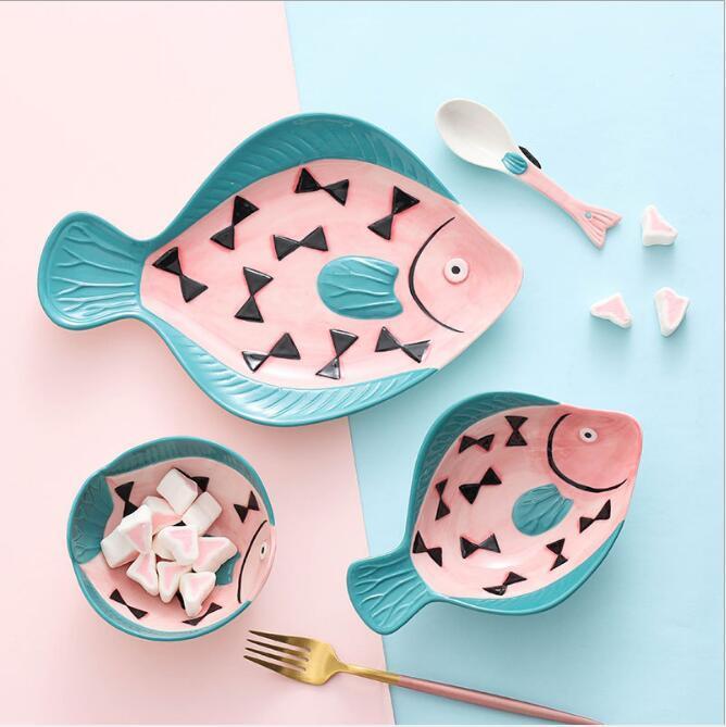 Японская посуда набор ручной росписью творческие пропаренные рыбий пластины керамические детские рисовые чаши ложка бытовые блюда подарки