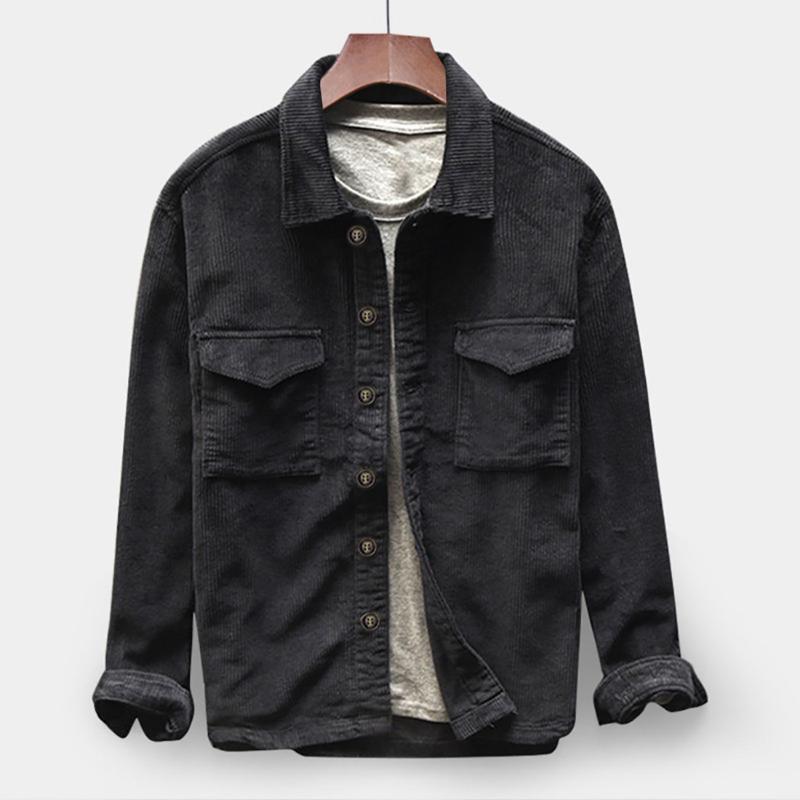 2021 Spring Automne Hommes Main Mode Jacket Hommes Couleur Solide Couleur Chemise Ventilée à manches longues Bouton de chemise à manches longues