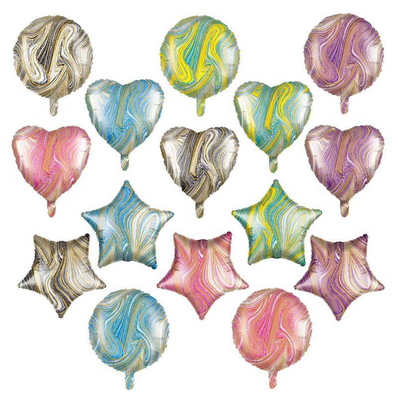18 inçlik akik beş köşeli yıldız balon 18 inç kalp şekilli yuvarlak beş köşeli yıldız akik alüminyum folyo balon doğum günü dekorasyon top