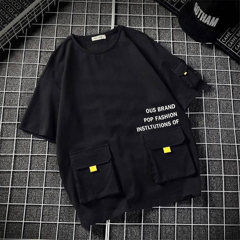 T-shirt HIP HOP MEN'S T-shirt occasionnel Street Fashion Summer Top avec t-shirt de poche drôle