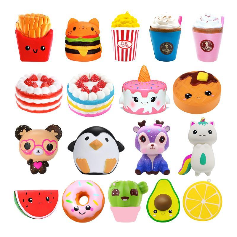 임의의 여러 가지 빛깔의 컬러 아이 팝콘 케이크 해피 녀석 quishy 스퀴즈 공 스트레스 릴리프 장난감 크림 향기로운 Antistress 아기 장난감 Y0110