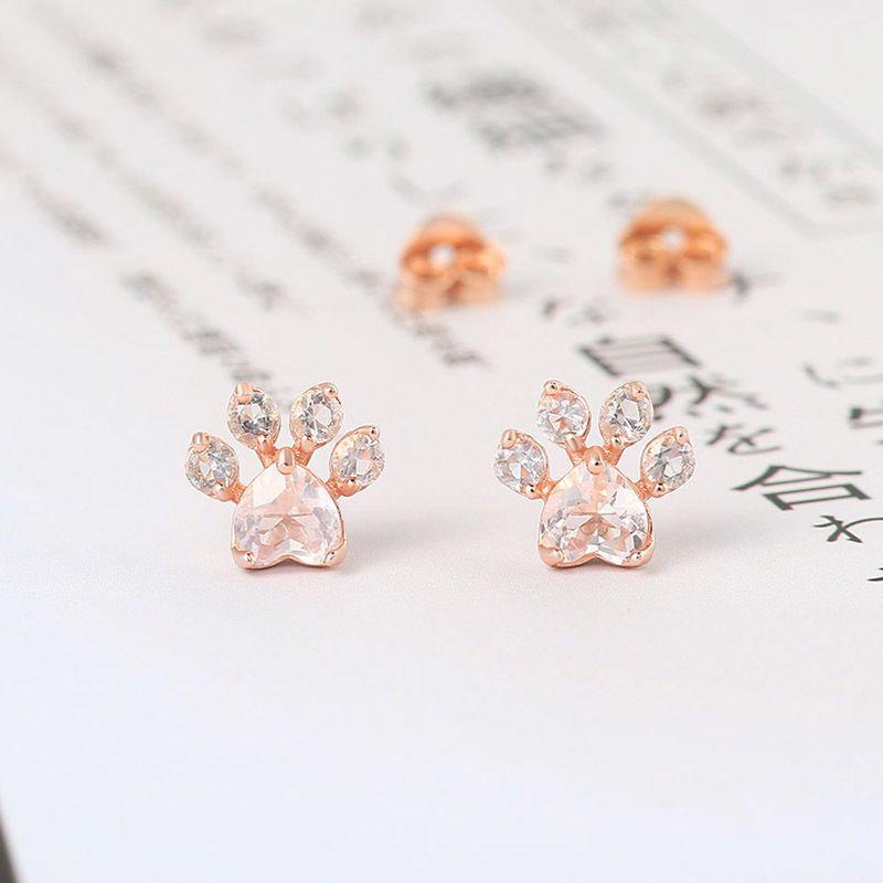 Lamoon Cat Paw 925 Orecchini Argento Stud per Rose Donne Naturale Quarzo Oro rosa 18 carati placcato Fine Jewelry EI040-3 C1003