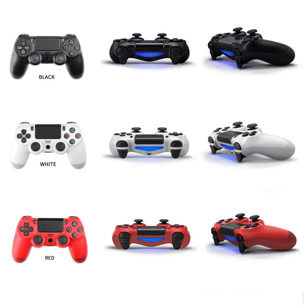 PS4 진동 용 블루투스 무선 컨트롤러 조이스틱 게임 패드 게임 핸들 컨트롤러가 로고가있는 로고가있는 스테이션을 재생합니다.