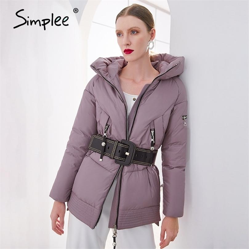Simplee Rahat Kapüşonlu Kadınlar Kış Coat Parka Fermuar Cep Yastıklı Ceket Kaban Bayanlar Yeni Marka Pamuk Sıcak Coat Kadın 201212