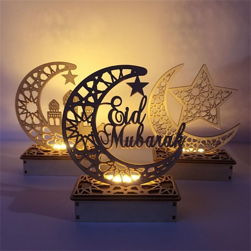 Ramadan Eid Mubarak Decorazioni per la casa Luna LED Candele Light Wooden Plaque Appeso Decors ISLAM Musulmani Evento Evento Forniture per feste