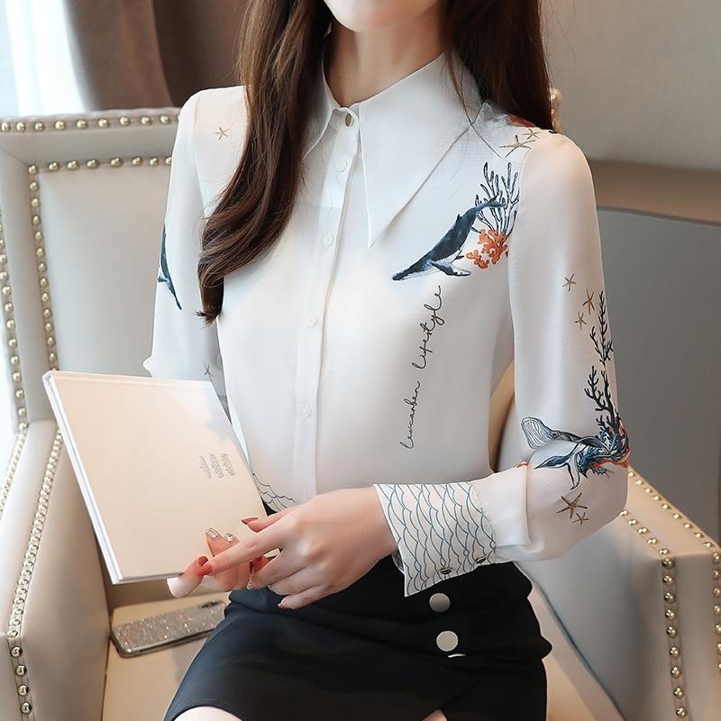 Sonbahar Bluz Kadınlar Bayanlar Kadınlar Için Şifon Bluz Gömlek Tops Beyaz Gömlek Baskı Düğmesi Blusas Mujer De Moda 0265 201201