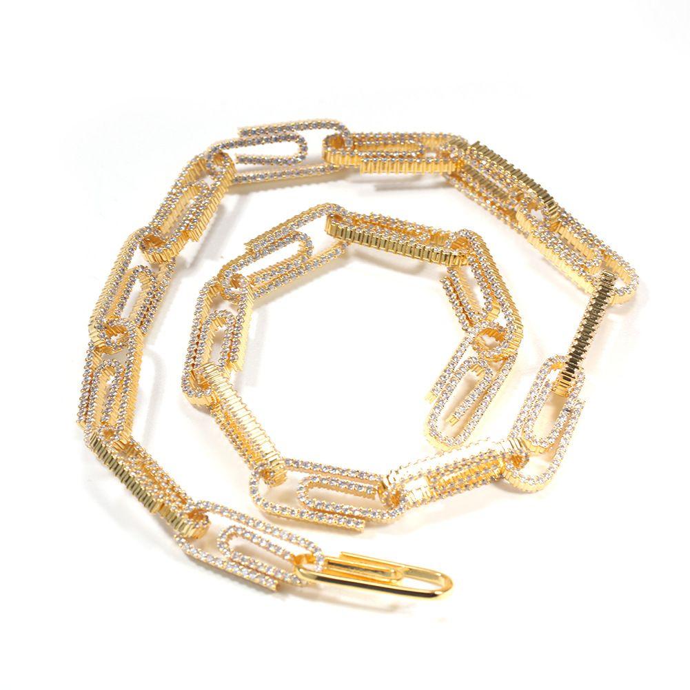 Mens Diamante Iced Out Clipe cadeia de jóias de cobre Cadeia Colar Prata Colares 10 milímetros 16inch 18inch