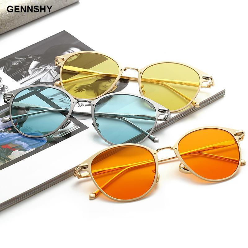 2020 Ozean-Linsen Metall Sonnenbrille Frauen Mode Retro kleine Sonnenbrille Marke Design Hohe Qualität Gold Blaue Linsen