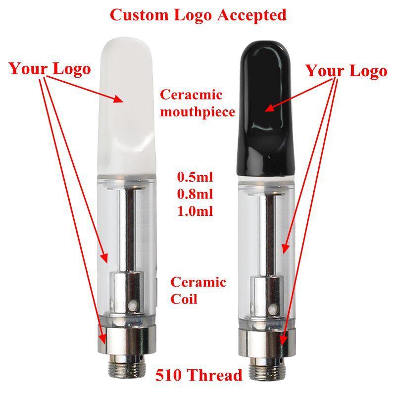 Özel Logo Vape Kartuşları Seramik Bobin Kalın Yağ Cam Arartıları 0.5 ml 0.8ml 1.0ml Boş Vape Kalem Kartuşları Özelleştirmek Sepeti Atomizer