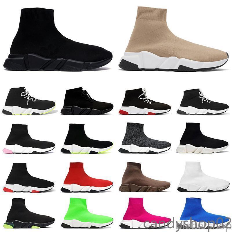 Nova Chegada Sock Shoes Mens Plataforma Womens Designers Sneakers Bege Todas as peúgas de Graffiti Preto botinhas Sapatos Casuais Luxurys Flats Ca02