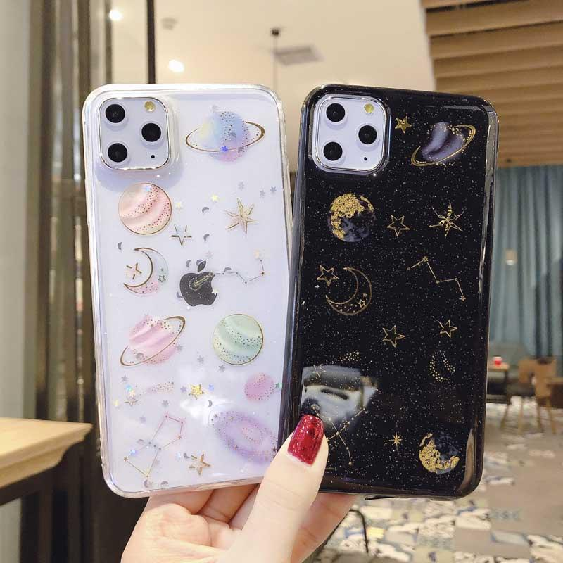 Epoxy Phone Case For Samsung S8 S9 S10 S20 Note10 Note20 Ultra Planet Star Transparent TPU Back Cover Cases