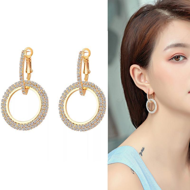 Charm Ravinour Brincos Femme Bijoux Мода Hoop Серьги для Женщин Золотая Серебро Двойной Круглый Большие Геометрические Длинные Услуги WeddingJewelry1