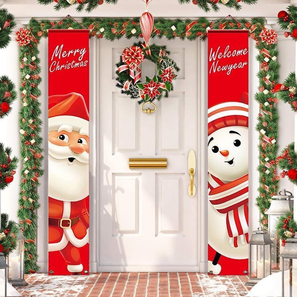 Санта-Клаус Снеговик баннер Рождественский декор для дома С Рождеством Двери Дверь декор Рождество орнамент с новым годом Navidad 201021