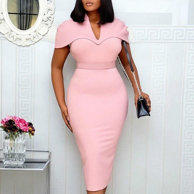 Manica corta abiti delle donne di colore rosa aderente matita elegante Office Lady Classy Dress Slim Vestido African Large Size Modest Female VV1B #