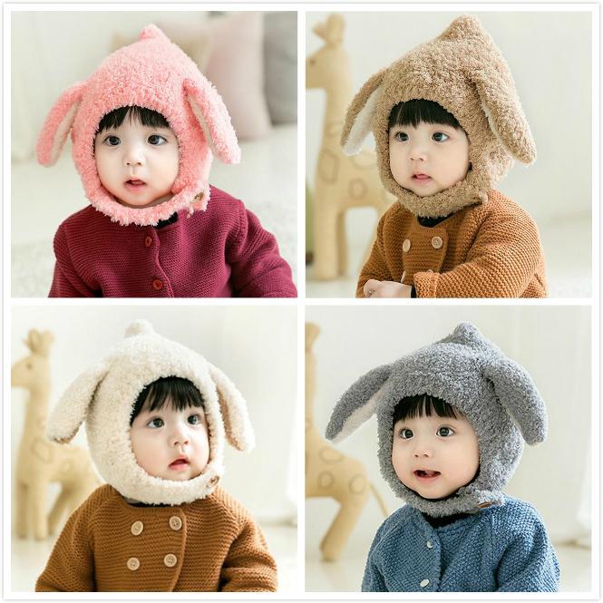 아기 토끼 귀 플러시 모자 유아 겨울 모자 비니 따뜻한 모자 이어폰 아기 따뜻한 모자 유지