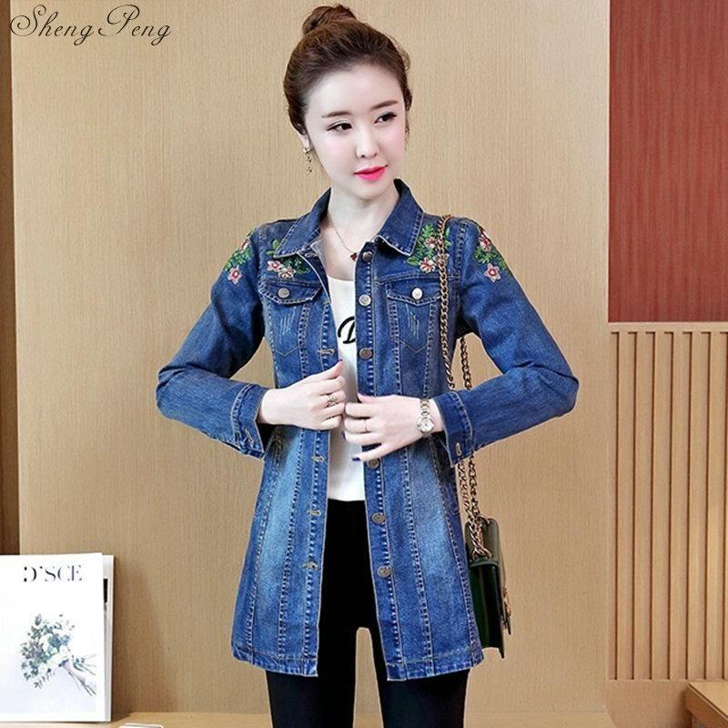 2020 Nueva otoño ropa de mujer mujeres jeans de mezclilla de moda de luz de algodón delgado vaqueros lavados capas de la chaqueta 5XL V1132