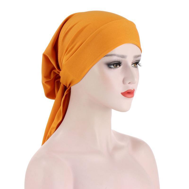 Accessori per capelli Helisopus moda donna musulmana hijabs solido elastico lungo coda lunga bowknot foodscarf perdita chemio tappo