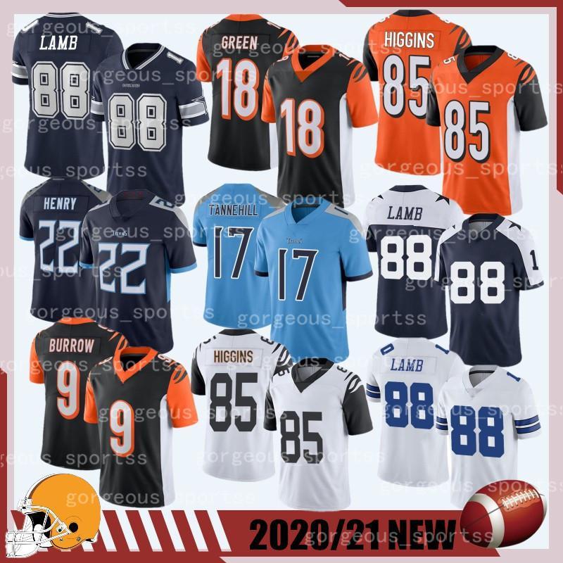 2020/21 Novo 88 Camisa de Futebol de Cordeiro 85 Higgins 18 Green 9 Burrow 17 Tannehill 22 Henry Top Quailty 2021 Novo