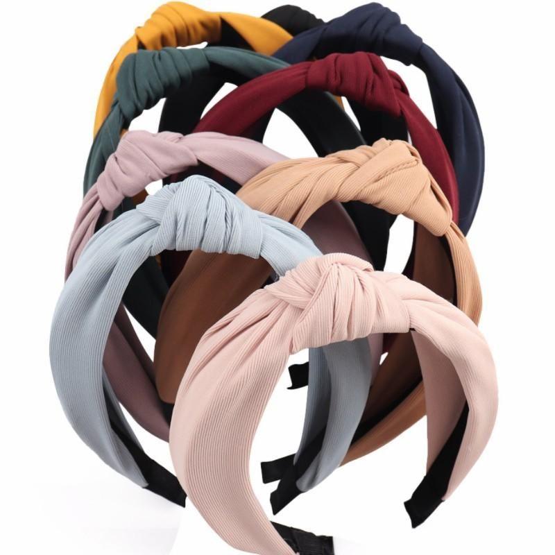 Твердая Knotted оголовье Hairband для женщин Lady Лук волос обруча Аксессуары для волос головной убор девушки повязка 9 цветов