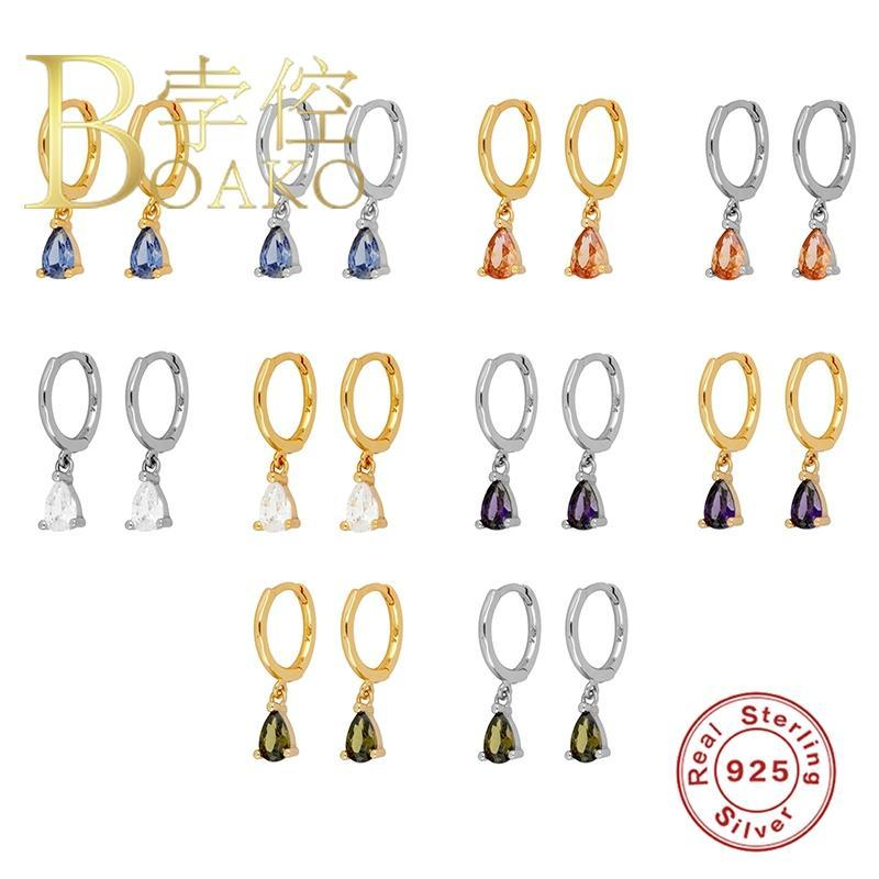 BOAKO 925 gümüş küpe İçin Kadınlar Su Damlası Dangle Küpe Piercing Elmas Şık Lüks Pendientes # 8.8