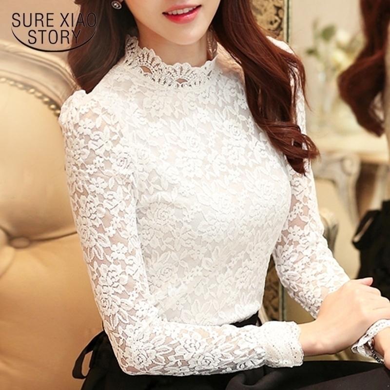 Plus Size Tops Fashion Woman Bluses Bianco Lacci Camicetta Camicia a maniche lunghe Camicie da donna Blusas Femininas Camicetta Donne 1695 50 201026