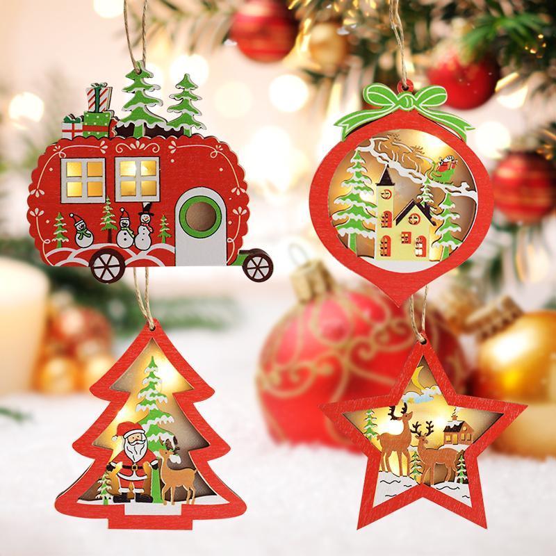 1 Adet Led Süsleme Ev Partisi Noel Dekor Asma Ahşap Araba Noel ağacı Yıldız Ahşap Parlayan kolye Chritmas Ağacı Işıklar