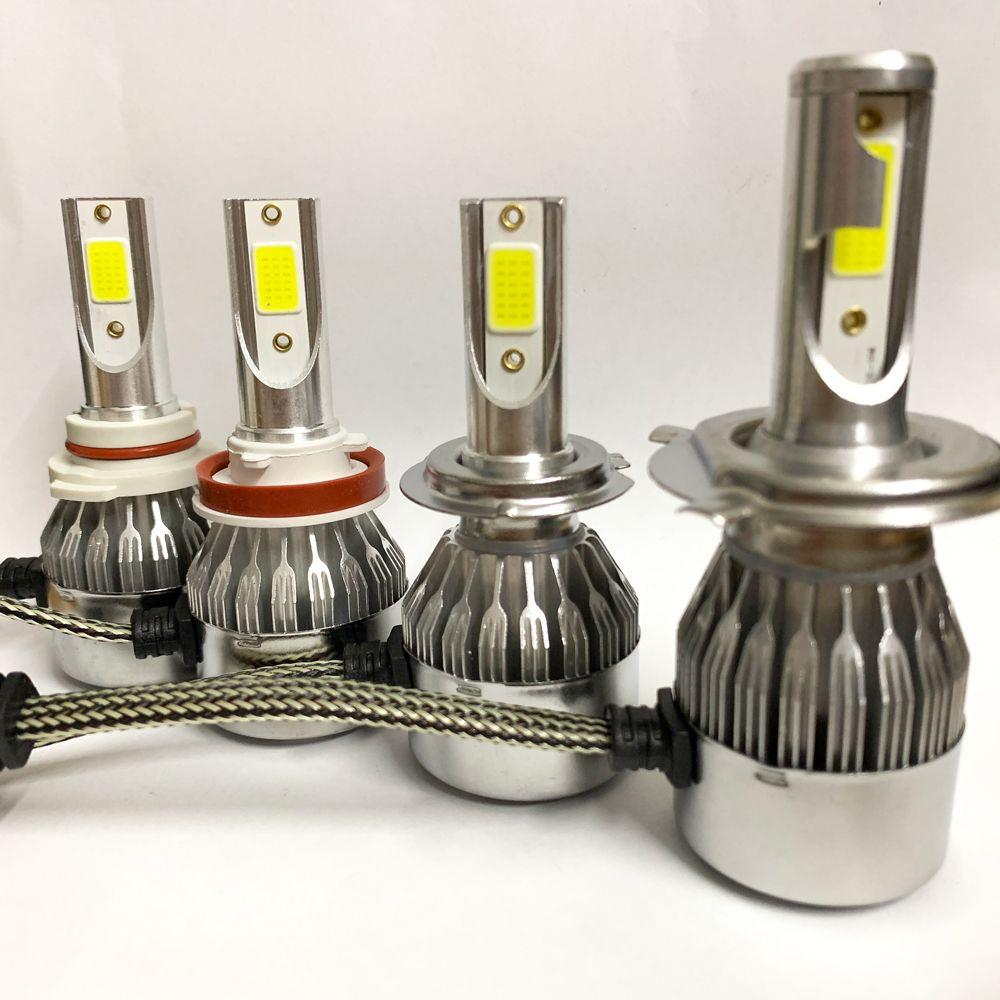 1Pair Car Headlight Bulbs LED H1 H4 H7 H8 H11 Auto C6 Bulbs HB4 H27 8000LM 6000K 36W Car Light Universal Canbus