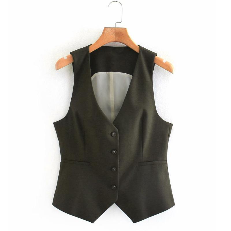 2020 Summer Slim femmes Manteaux manches Gilet col en V simple boutonnage Femme Bureau Lady Vest Casual Vêtements d'extérieur
