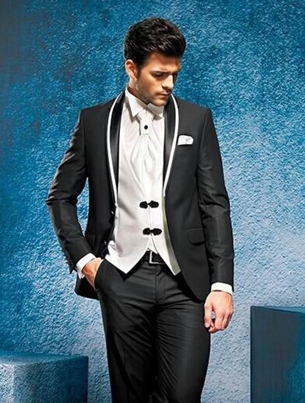 Sehr empfohlener Bräutigam TrueDos Mann-Arbeitsanzüge Peak Revers Herren Prom Partykleid Hochzeitskleidung (Jacke + Hosen + Weste + Krawatte) D: 138