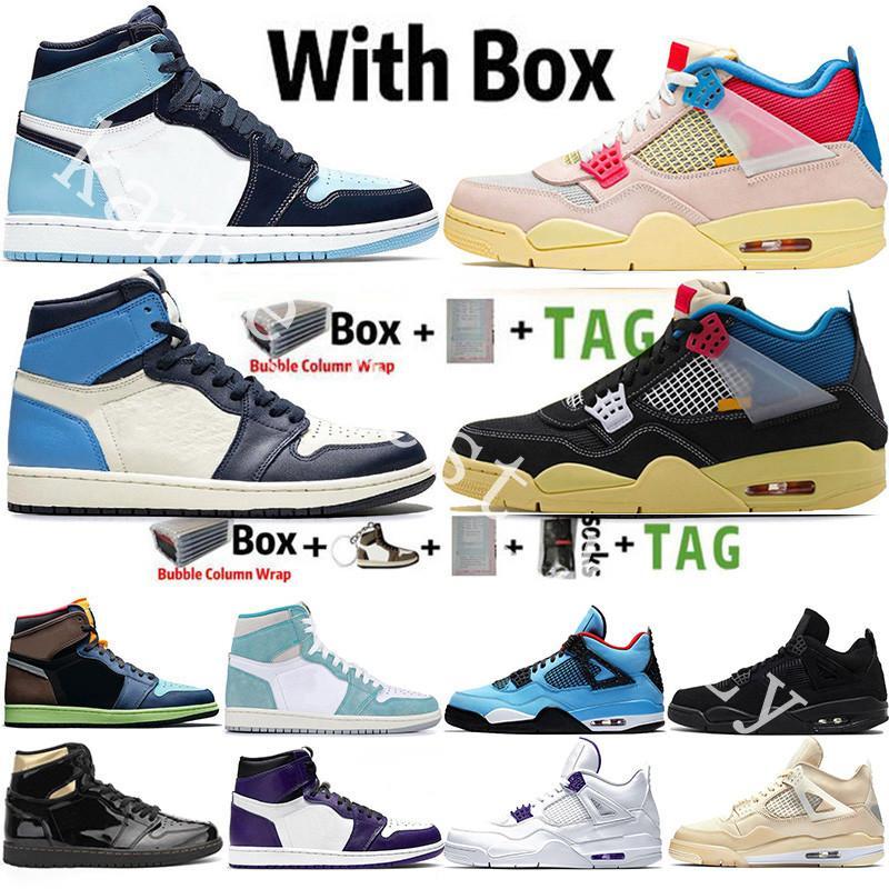 1 1s مع Box Jumpman 1 1s Tokyo Bio Mocha Obsidian UNC Twist Travis Scotts 4 4s Black Cat Sail Guava Ice Noir الرجال أحذية كرة السلة أحذية رياضية رياضية