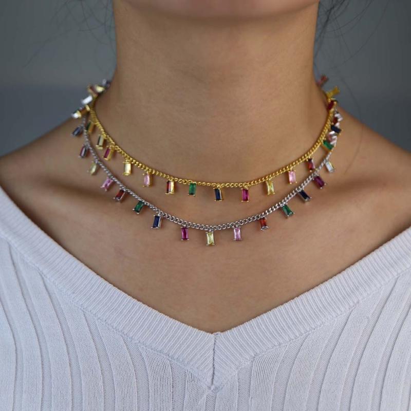المختنقون 2 ألوان ملونة تشيكوسلوفاكيا المختنق قلادة القلب الزركون سحر الأزياء قصيرة قلادة القلائد مجوهرات هدية للنساء 35 + 10 سنتيمتر