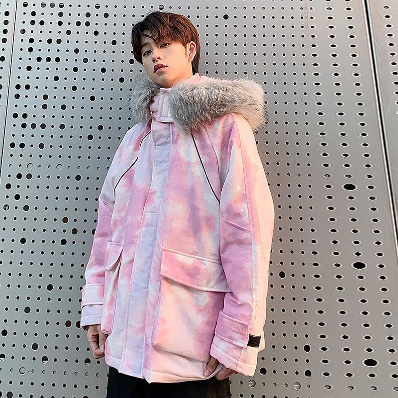 Inverno spesso Tie-dye Giacca Parka Uomo Warm Moda collo di pelliccia del cappotto con cappuccio da uomo in cotone allentato Camou cappotto corto abiti da uomo M-5XL