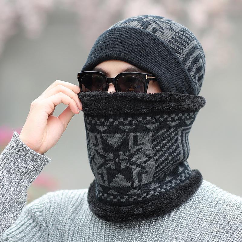 Malha de Men Hat Outono e Inverno Plush grosso de lã Hat, Frio-prova Hat Scarf Define Ciclismo Outdoor